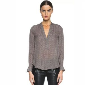 VINCE Women's Top Size 8 Brown 100% Silk V Neck
